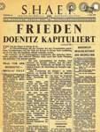 """Die Dokumente überdauern, aber ein großer Teil derer, auf die solche Verordnungsblätter herunterregneten, lebt nicht mehr. Ausgaben wie diese, datiert vom 8. Mai 1945, wurden in den letzten Kriegstagen von den Alliierten über den eroberten Gebieten abgeworfen.   Die """"Fallschirm-Ausgabe"""" informierte die Zivilbevölkerung unter anderem (ganz unten) über die Befreiung von 33.000 Häftlingen in Buchenwald durch die amerikanischen Truppen. Dieses Original-Titelblatt aus dem WESER-KURIER-Archiv hängt im Büro des Vorstands."""