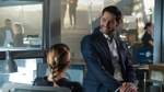 LUCIFER, from left: Lauren German (back to camera), Tom Ellis, Who s Da New King of Hell? , (Season 4, ep. 410, aired Ma