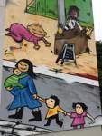 Das SOS-Kinderdorf wirbt mit einem haushohen Graffito für seine Angebote. Es soll zeigen, wie viel Leben in dem Haus steckt. Gestaltet wurde es vom Graffiti-Künstler Hakki B. Mehr darüber erfahren Sie im Artikel.   Friedrich-Ebert-Straße, 28199 Bremen