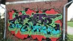 Hier gibt es gleich mehrere Wandbilder auf roten Backsteinen.   Wangerooger Weg, 28199 Bremen