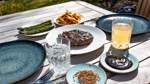 Steak mit grünem Spargel