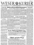 Die Titelseite der ersten Ausgabe des WESER-KURIER.
