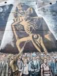 Das Gemälde auf dem Gröpelinger Bunker im Pastorenweg zeigt die Zerstörung der Pietá, des ersten Denkmals für die Verteidiger der Bremer Räterepublik, durch einen SA-Mann.