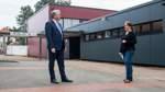 PK an der Turnhalle der Nikolaischule zur Fertigstellung der energetischen Sanierung Turnhalle