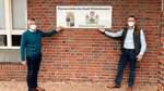 Schild macht auf Partnerstädte aufmerksam