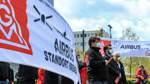Protest gegen Umbaupläne bei Airbus in Bremen