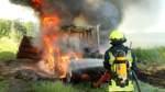 Traktor in Achim geht in Flammen auf
